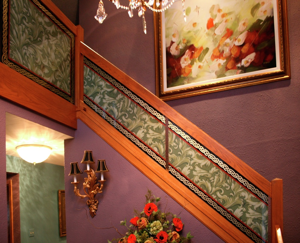 Glass Colour Etching Designs For Staircase Glass Designs